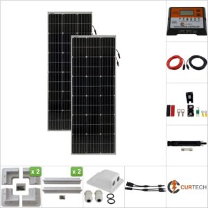 Twin 130W Curtech PERC Solar Panel ABS Package with CT12-20A