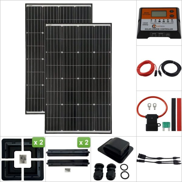 Twin 140W Curtech PERC Solar Panel with Black Frame ABS Package with CT12-20A